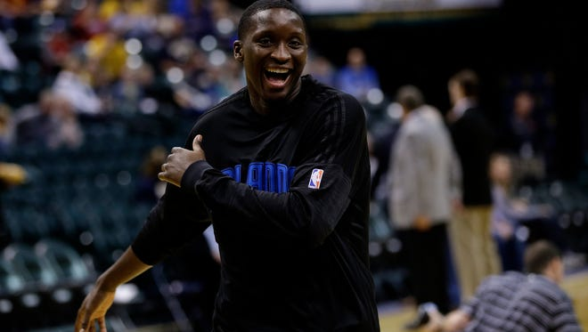 Orlando Magic guard Victor Oladipo (5) warms up before facing off against the Indiana Pacers at Bankers Life Fieldhouse on March 31, 2016.