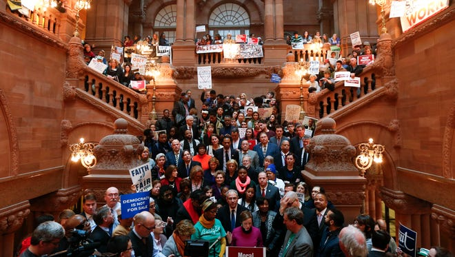 Supporters of public education rally in 2016 on the Great Western Staircase at the Capitol in Albany.