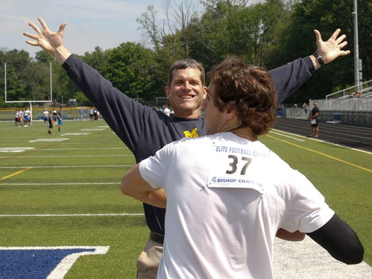 Jim Harbaugh coaches then-high school QB Brandon Peters, now with the Wolverines, during a camp stop last summer in Indianapolis.