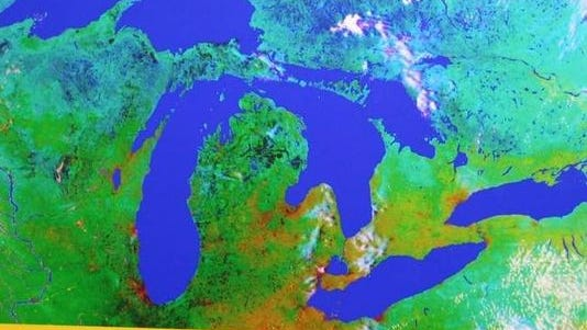 Satellite photo of the Great Lakes.