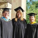 Marian 2015 Distinguished Alumna Alison Gleeson (center) spoke to the graduates at their commencement ceremony at St. Hugo of the Hills Church. Alison was introduced by Marian President Sr. Lenore Pochelski, IHM, and Alumnae Coordinator Patricia O'Leary Knipper.