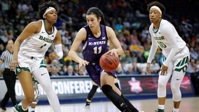 Kansas State forward Peyton Williams (11) has been nominated for the 2020 NCAA Woman of the Year honor. She is one of 259 nominees in Division I and one of 128 multi-sport nominees in all divisions.
