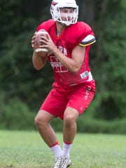 Manalapan High School football practice. Quarterback Luke Corcione.Manalapan, NJFriday, August 18, 2017@dhoodhood
