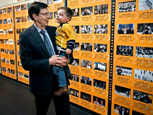 Predators General Manager David Poile spends time with