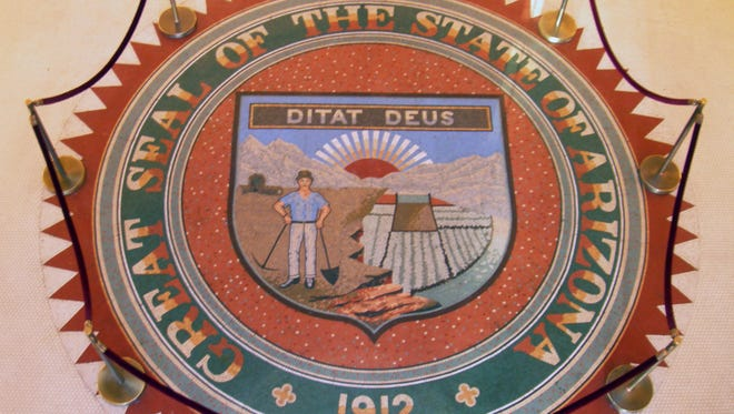 The Arizona State Seal on the floor of the rotunda at the State Capitol in Phoenix.  Credit: The Arizona Republic.