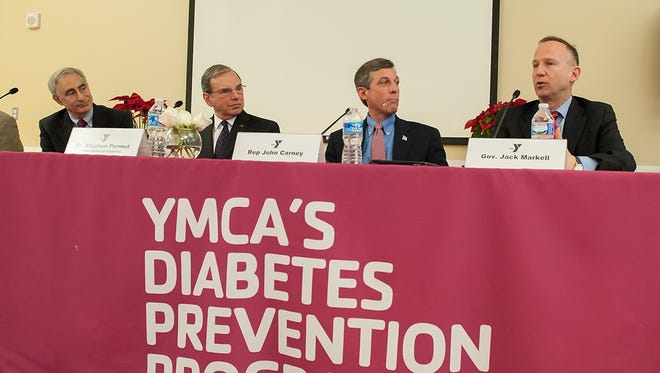 Gov. Jack Markell speaks during the launch of the YMCA of Delaware's diabetes program in 2013. The program will now be covered by Medicare.