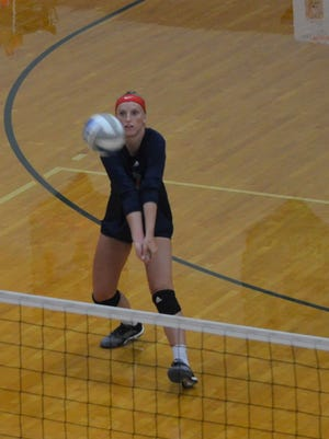 Marshall's Chloe Webber competes in the MIVCA All-Star Classic at Harper Creek on Friday.