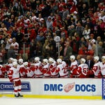 Red Wings forward Gustav Nyquist celebrates his third period goal during the Wings' 5-3 win Friday at Joe Louis Arena.