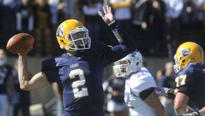 Augustana quarterback Trey Heid threw his 75th career touchdown in Saturday's win over Minnesota-Crookston. Heid has now thrown the most career touchdowns in school history.