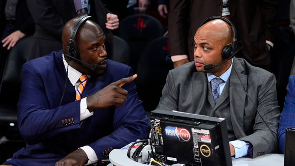 TNT broadcaster Shaquille O'Neal (left) and Charles