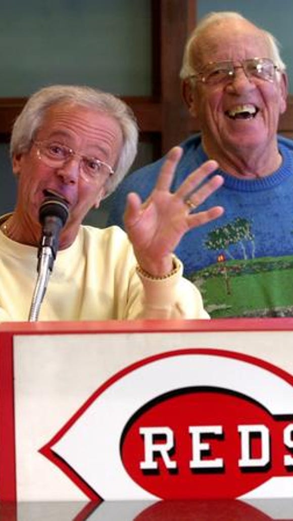 Marty Brennaman and Joe Nuxhall at 2002 press conference.