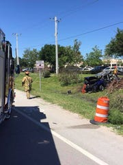 Two people pulled from a crash on Indrio Road and Kings Highway on Monday, April 16, 2018, were both taken a local trauma center.