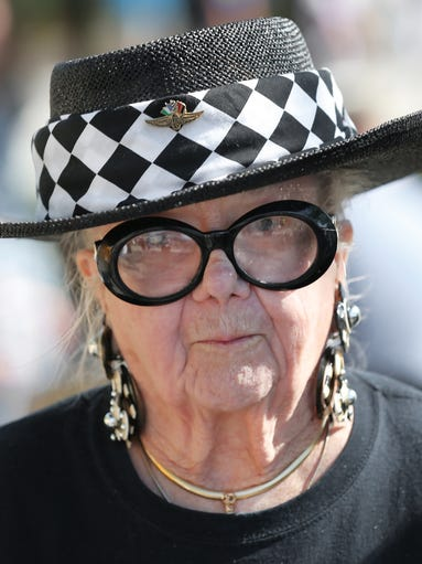 Race fan Marilyn Portemont, 89 of Alabama, makes her