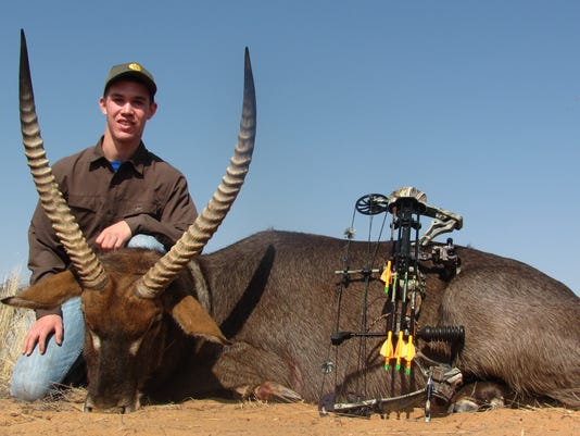 Ryan Barnes with the waterbuck he harvested.