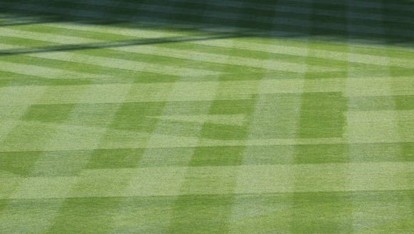 The outfield at GABP, with 14 cut into the grass.