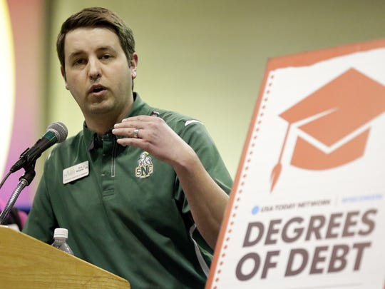 Eric Wagner, associate director of admissions at St. Norbert College in De Pere, talks about preparing for college during a Degrees of Debt event hosted by USA TODAY NETWORK-Wisconsin at Shopko Hall in Ashwaubenon on Tuesday night, Feb. 21, 2017.