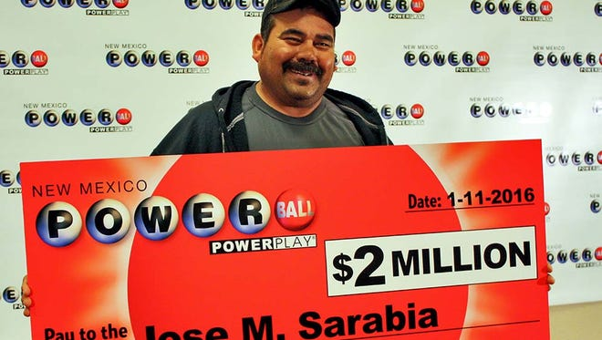 Jose M. Sarabia of Fort Stockton, Texas, claimed his $2 million prize at New Mexico Lottery headquarters in Albuquerque on Monday. Today's drawing is for a historic $1.5 billion prize,