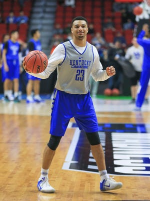 Kentucky's Jamal Murray was loose during practice Wednesday afternoon at Wells Fargo Arena in Des Moines before Thursday's NCAA tournament game.
