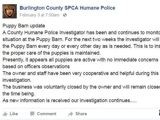 Burlington County SPCA Humane Police post about the