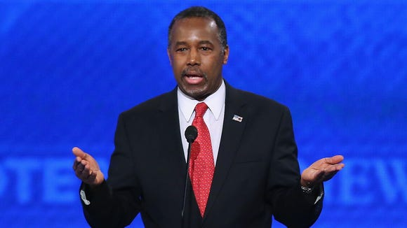 Ben Carson speaks during the Republican presidential