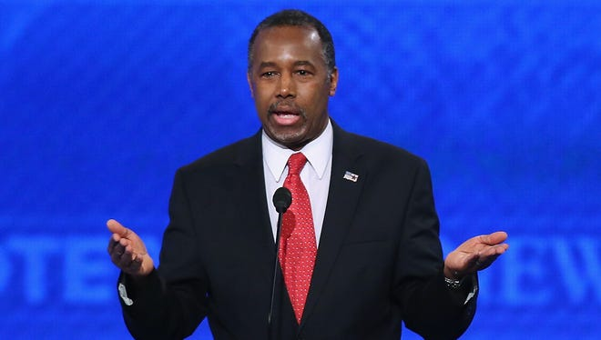Ben Carson speaks during the Republican presidential debate at St. Anselm College on Feb. 6, 2016 in Manchester, N.H.