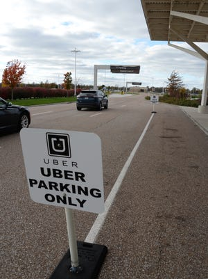 Designated Uber pickup area at the Springfield-Branson National Airport.