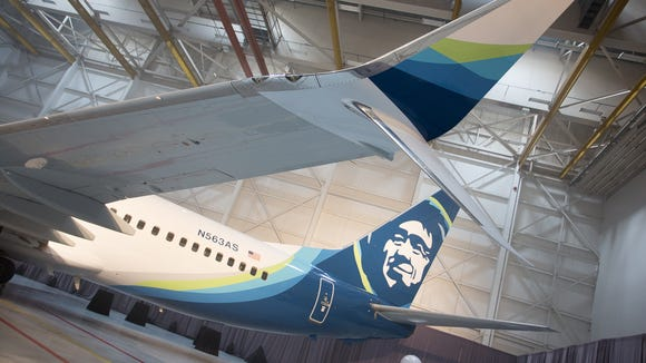 A Boeing 737 sporting Alaska Airlines' updated livery