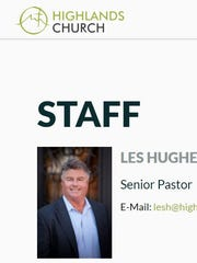 A photo of Les Hughey on the Highlands Church website.