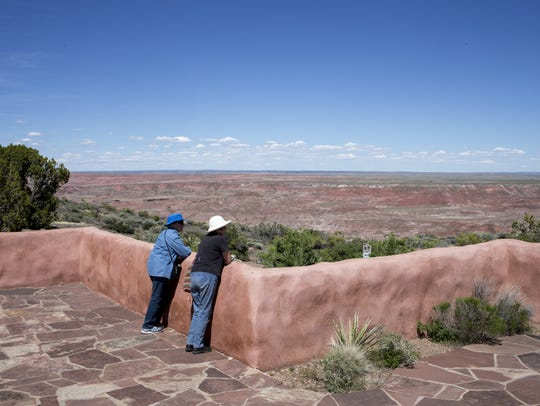 Visitors enjoy the view, April 30, 2015, from the Painted