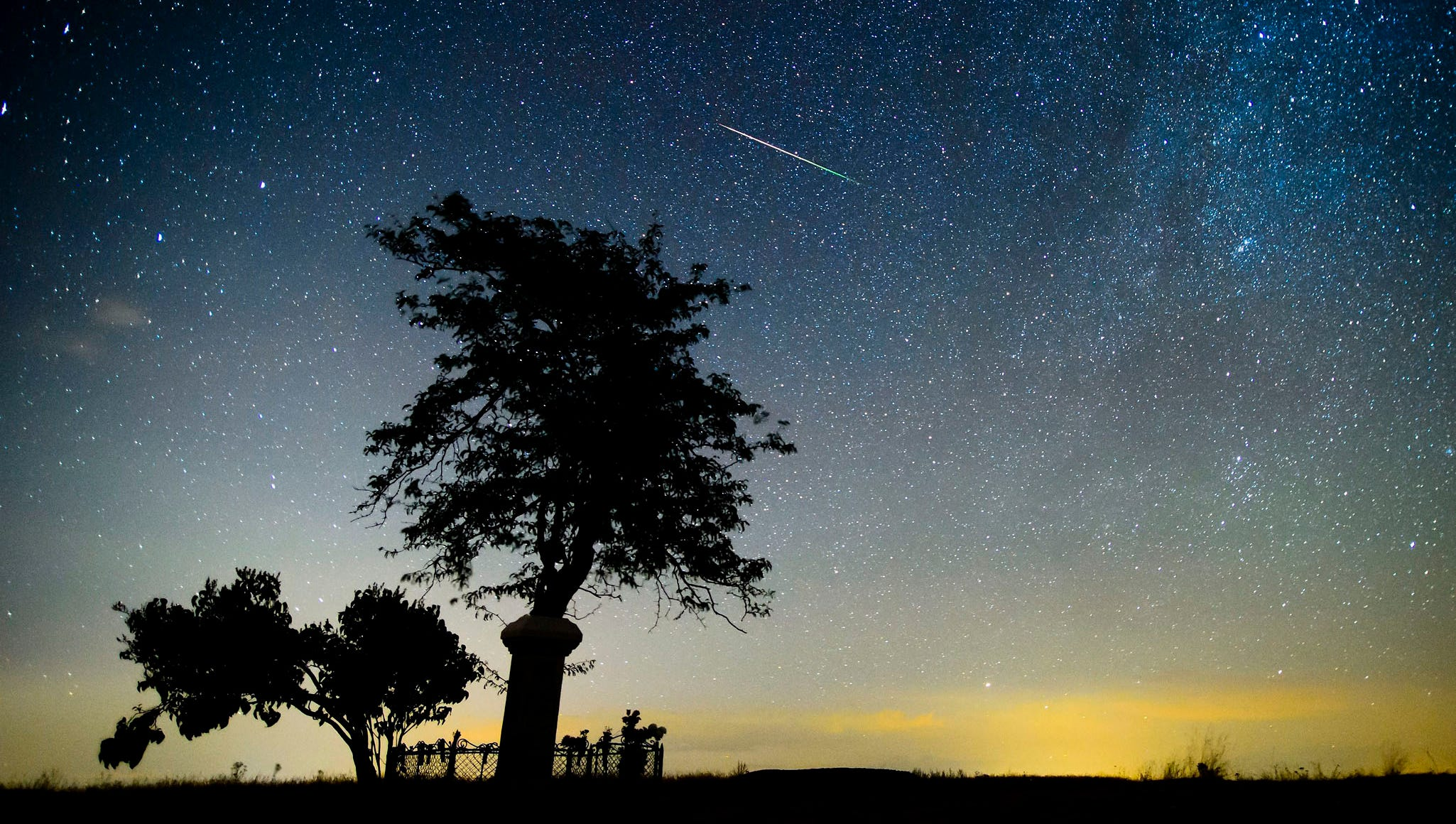 A meteor burns up in the atmosphere near Salgotarjan, Hungary.