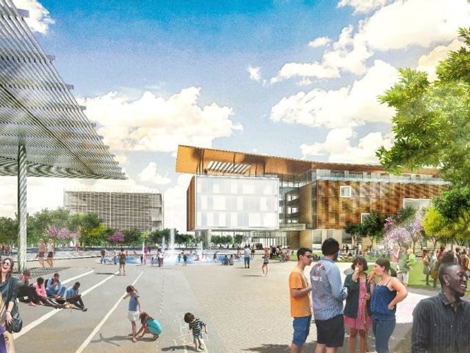 A rendering of the proposed ASU campus in downtown