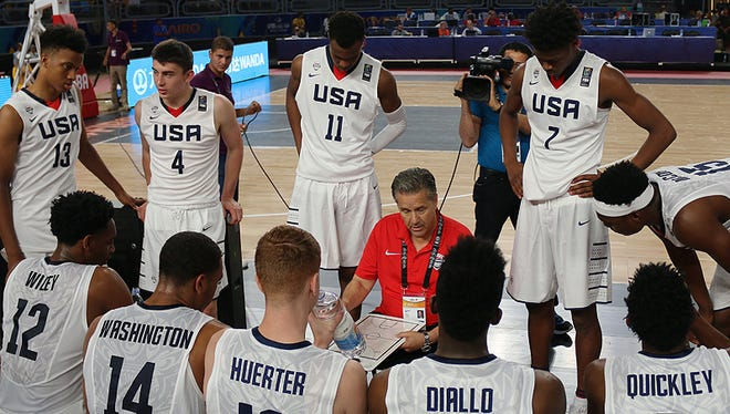 John Calipari and Team USA during a timeout against Angola Sunday June 3, 2017 at the FIBA World Cup in Cairo.