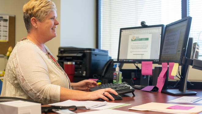 Corrie Wright, division director of housing services for the City of Topeka, explains the process applicants will go through to fill out forms for the city's small business grant program. Applications for the program open Oct. 1.