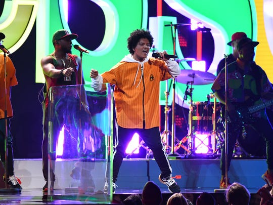 Bruno Mars performs 'Finesse' during the 60th Annual