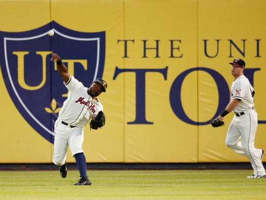 Christin Stewart fields a ball at Fifth Third Field in Toledo, Ohio on June 15.