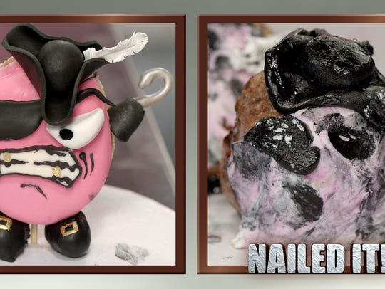 """The first round of baking on episode 2 of """"Nailed It!"""""""