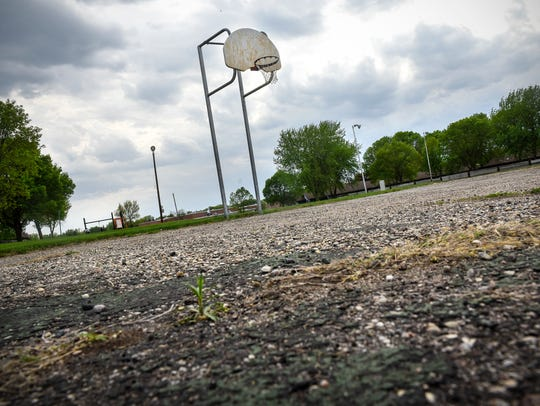 The old basketball court at Northway Park is pictured Friday, May 18, in St. Cloud.