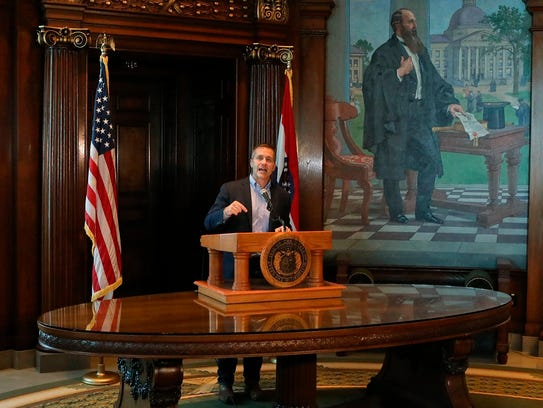 Missouri Gov. Eric Greitens speaks at a news conference