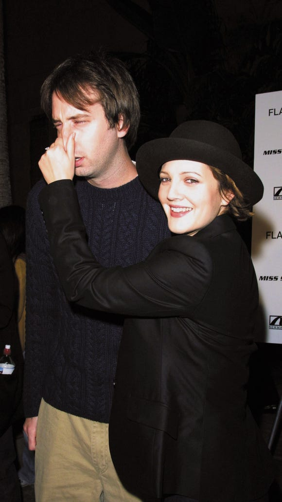 "Tom Green and Drew Barrymore at the premiere of ""Donnie Darko"" in 2001."