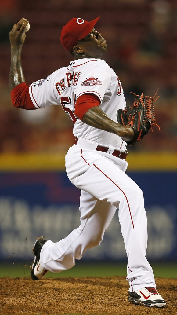 Reds closer Aroldis Chapman delivers against the Rockies on May 26.
