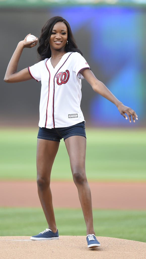 Miss USA Deshauna Barber throws out the first pitch