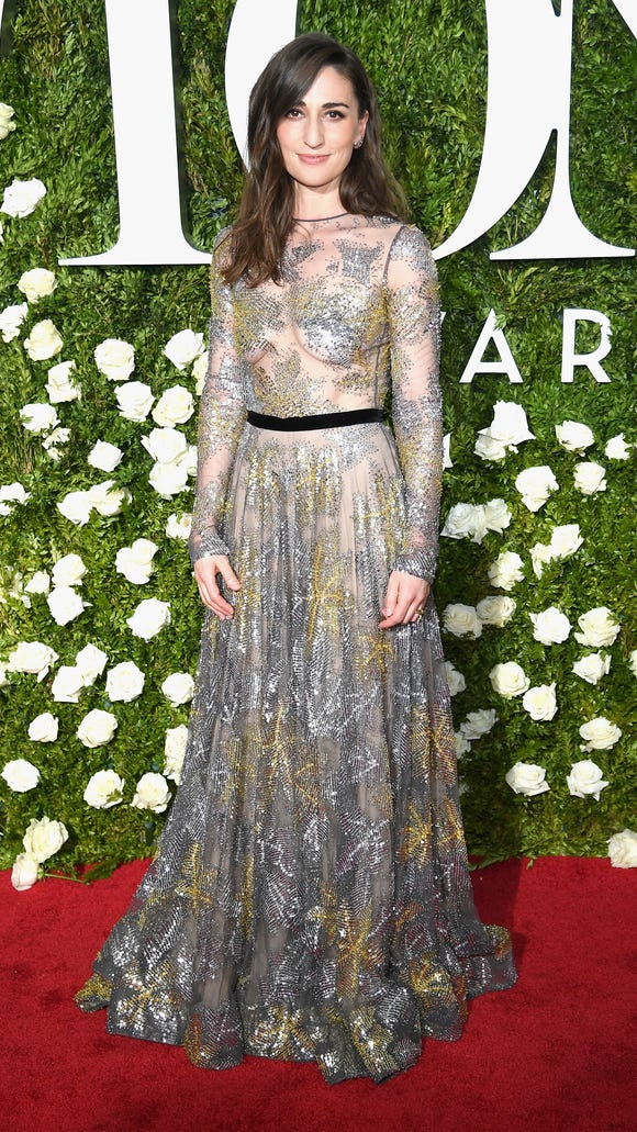 Sara Bareilles shimmered in metallic florals.
