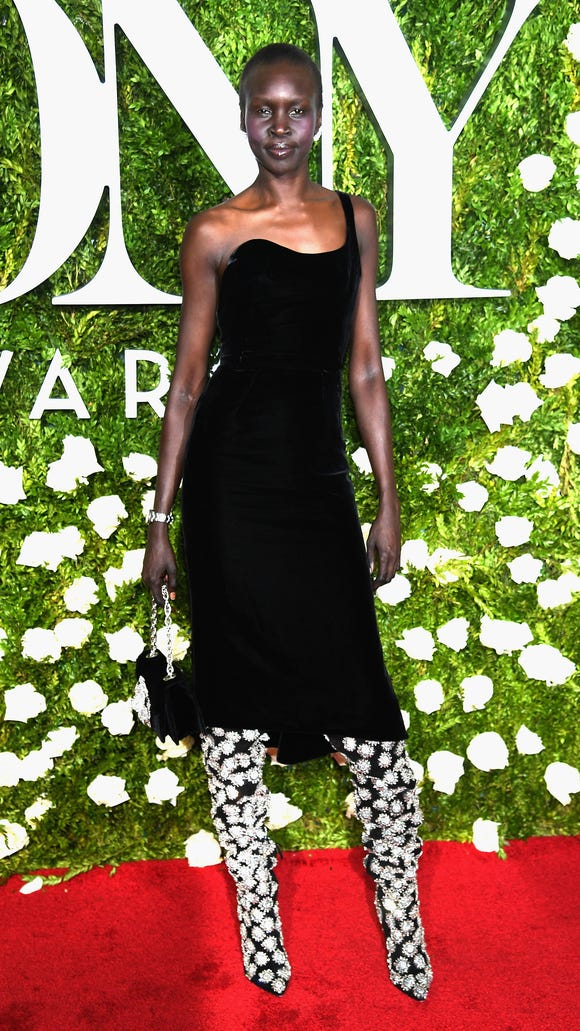 Model Alek Wek worked those boots.