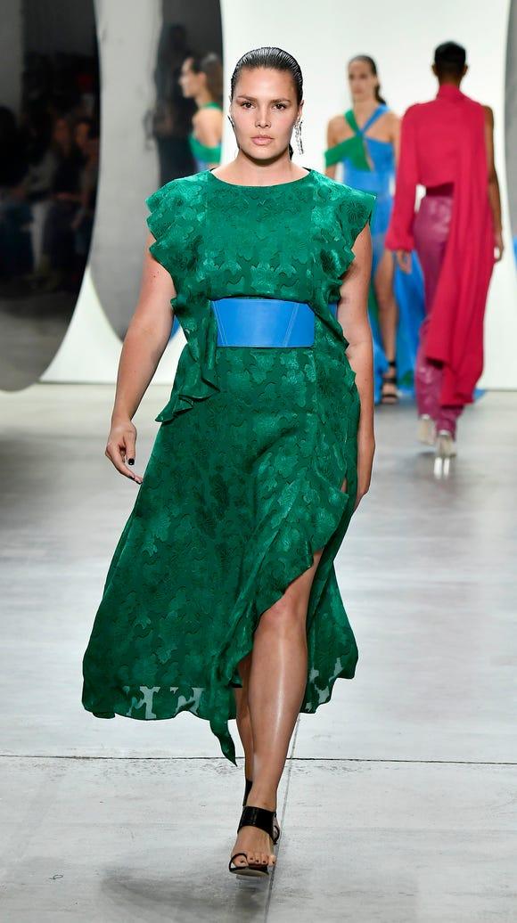 Candice Huffine walks the runway for Prabal Gurung