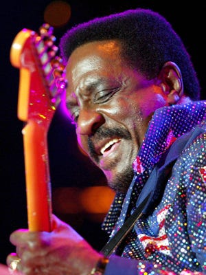 """Ike Turner performs during the """"Ike Turner and The Kings of Rhythm"""" concert at the Montreux Jazz Festival, in Switzerland on July 19, 2002."""