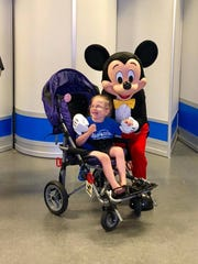 Newark's  Mickey Merrill in June during a Make-A-Wish Foundation trip to Florida's Walt Disney World.