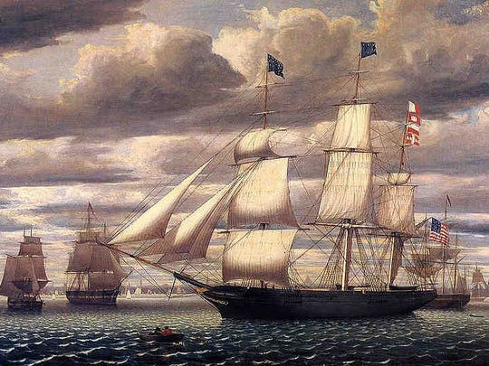 An example of an 1840s three-master immigrant ship like Oregon, Henry Clay, Virginius, Naomi, John Munn and the Erin's Queen.