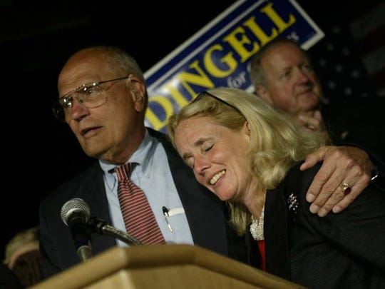 Congressman John Dingell and his wife Debbie Dingell after Dingell's election victory in 2002.