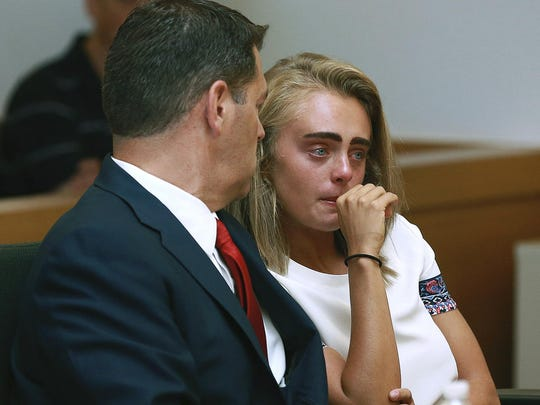 In a Thursday, Aug. 3, 2017 file photo, Michelle Carter
