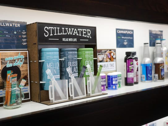 A display of Stillwater cannabis products on the shelf